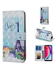 Glitter Wallet Case for Huawei P20 Lite and Screen Protector,QFFUN Bling 3D Pattern Design [Tower] Magnetic Stand Leather Phone Case with Card Holder Drop Protection Etui Bumper Flip Cover