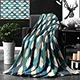 Unique Custom Double Sides Print Flannel Blankets Geometric Decor Collection Islamic Tiles Mosaic Pattern Antique Cultural Eastern H Super Soft Blanketry for Bed Couch, Throw Blanket 60 x 40 Inches