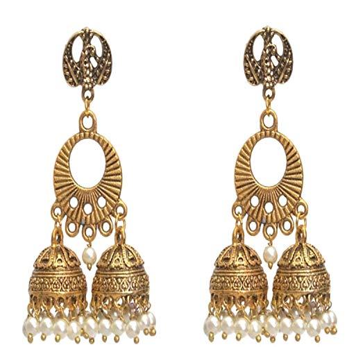 Sansar India Oxidized Stud Multi Jhumka Jhumki Indian Earrings Jewelry for Girls and Women