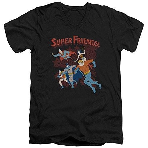DC Comics Super Friends Running Batman Robin Aquaman Adult V-Neck T-Shirt Tee