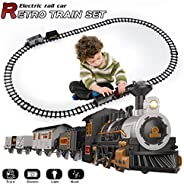 iHaHa Electric Train Set for Kids with Sound Light, Battery-Powered Train Toys with Locomotive Engine, 3 Cars