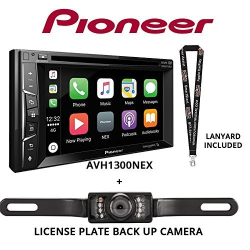 Pioneer AVH-1300NEX 6.2'' DVD Receiver Apple CarPlay Built in Bluetooth with License Plate Style Backup Camera and a Free SOTS Lanyard by Sound of Tri-State