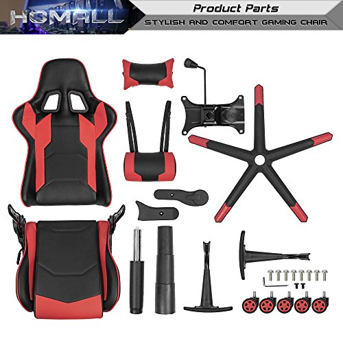 Homall Gaming Chair Racing Style High-Back Faux Leather Office Chair Computer Desk Chair Executive and Ergonomic Style Swivel Chair with Headrest and Lumbar Support(Red) by Homall (Image #7)