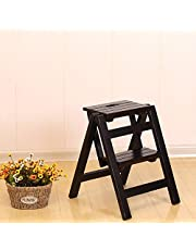 Step Stools Step Stool Solid Wood Fold Stair Chair Household Ladder Two Steps Multifunction Indoor Ascend The Small Ladder (Color : B)