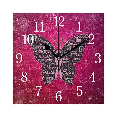 (Abbylife Breast Cancer Pink Ribbons Square Wall Clock, Silent Non-Ticking Easy to Read Decorative Battery Operated Wall Clock Art for Living Room Home Office School 7.87