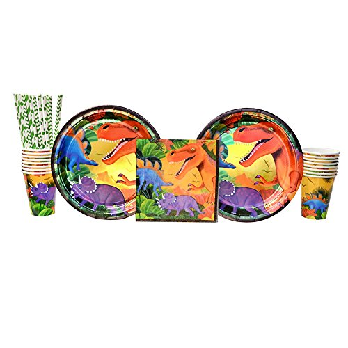 Cedar Crate Market Prehistoric Dinosaur Party Supplies Pack for 16 Guests: Straws, Dinner Plates, Luncheon Napkins, and Cups -