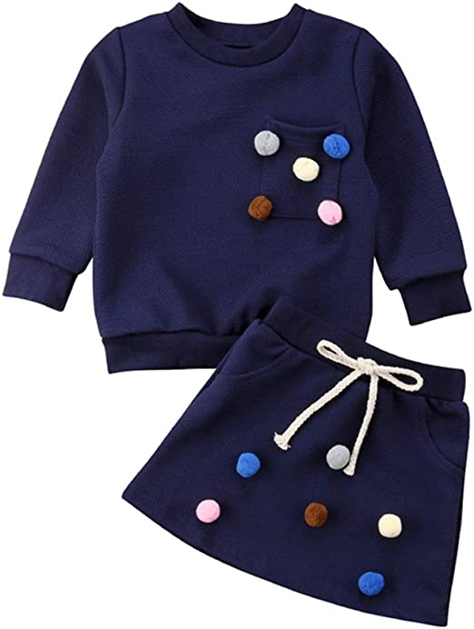 2PCS Toddler Kids Baby Girl Lace T-shirt Tops Dress Skirts Autumn Outfit Clothes