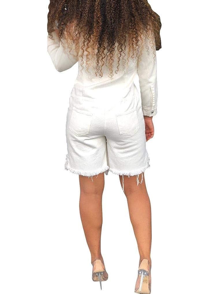 DressU Womens Pocket Bermuda Shorts Slim Fit Button Denim Jumpsuit Romper