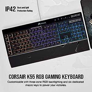 Corsair K55 RGB Gaming Keyboard – IP42 Dust and Water Resistance – 6 Programmable Macro Keys – Dedicated Media Keys – Detachable Palm Rest Included