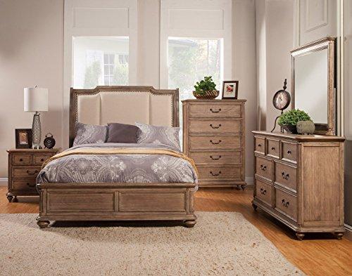 Alpine Furniture Melbourne Upholstered Sleigh Bed, King -