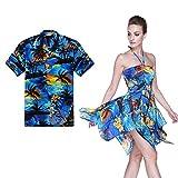 Hula Hula Batik Couple Matching Hawaiian Luau Aloha Shirt Gypsy Dress In SunBlue XL