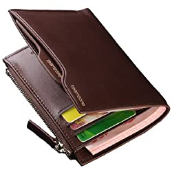 Teemzone Men's Leather Bifold Vertical Style Wallet Card Case