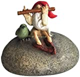 Top Collection Miniature Fairy Garden and Terrarium Gnome Playing Flute with Bird Statue For Sale