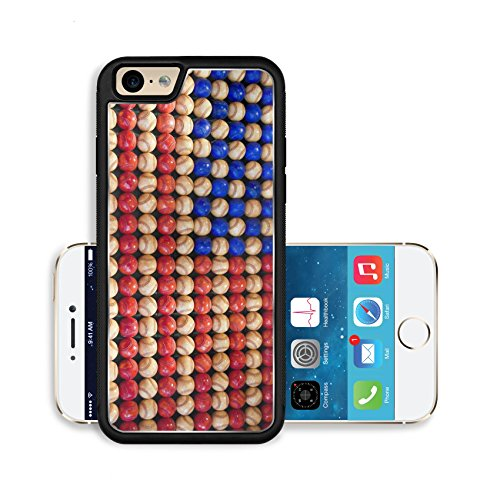 Luxlady Premium Apple iPhone 6 iPhone 6S Aluminium Snap Case An American flag made of red white and blue baseballs IMAGE ID 6173123