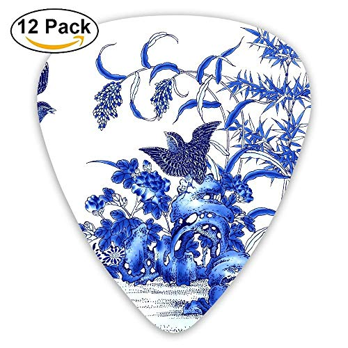 (Anticso Custom Guitar Picks, Exotic Chinese Ink Painting Landscape Flowers And Birds Guitar Pick,Jewelry Gift For Guitar Lover,12)