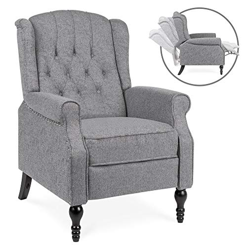 (Best Choice Products Tufted Upholstered Wingback Push Back Recliner Armchair for Living Room, Bedroom, Home Theater Seating with Padded Seat and Backrest, Nailhead Trim, Wooden Legs, Charcoal)
