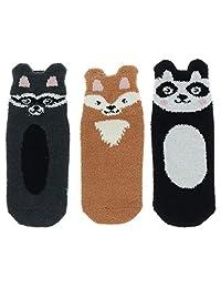 Women's Furry Friends Ankle Slipper Socks (3 Pr)