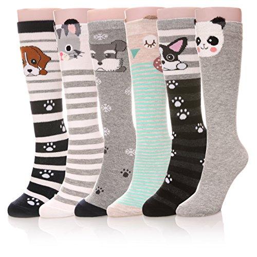 Color City Girls Socks Knee High Socks Cute Cartoon Animal Warm Cotton ()