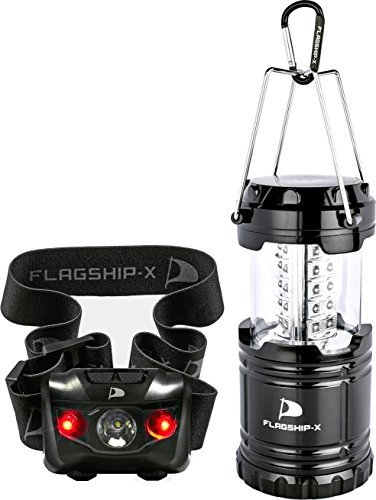 Insane Sale Flagship-X 1 Lantern 1 Headlamp Camping Lights Brightest CREE LED Portable Electric Bonus Waterproof Head lamp Flashlight for Outdoors (Sale Lantern For)
