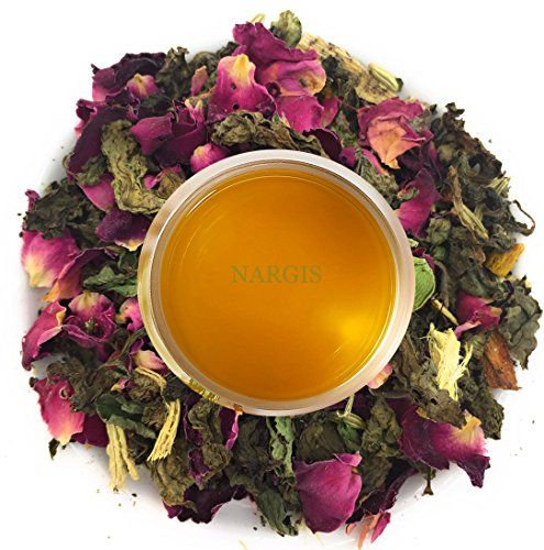 Nargis Ayurvedic Loose Leaf Cooling Digestion Tea/100% Natural Herbal Anti Oxidant Refresh Tea w/Rose, Peppermint, Cinnamon, Cardamom & Mulethi/Indian Organic Flavor Relax Tea, 10.58 oz