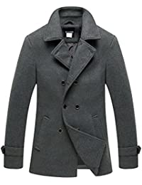 Men's Peacoat Jacket Double Breasted Fit Lapel Wool-Blend Coat