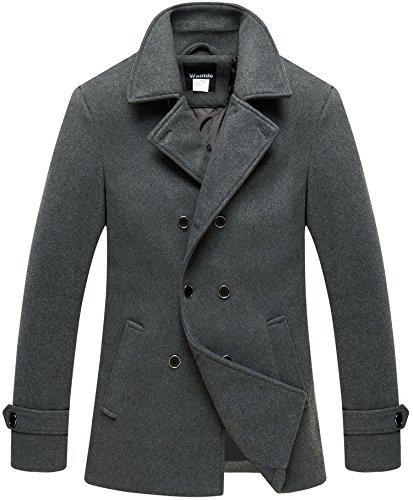 Wantdo Men's Casual Business Peacoat Outdoor Windproof Warm Overcoat Grey M