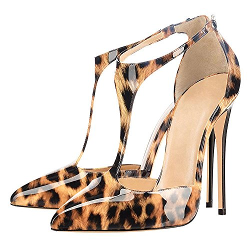 uBeauty Womens Court Shoes T-Strap Heels Sandals Big Size Stiletto Solid Pointed Toe Ankle Strap Pumps Leopard a 4gCyUpw2