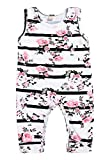 Mini honey Baby Girl Pink Floral Striped Print Sleeveless Romper Bodysuit Summer Clothes Outfits (12-18 Months, White)