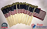Flags Unlimited Lot of 144 4x6 Inch US American Hand Held Stick Flags Spear Top Made in the USA