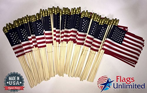 Lot of 144 4x6 Inch US American Hand Held Stick Flags Spear Top Flags Unlimited Made in the USA