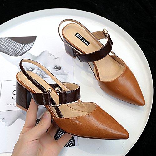Chaussures Les Hauts 38 Talons Est Simples Des Femmes Baotou Expose Avec Brown Pointe Sandales HSqtxgS