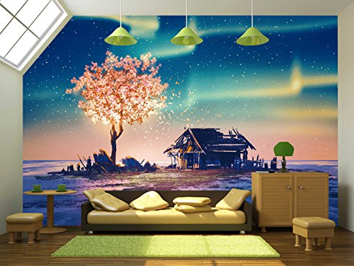 Abandoned House and Fantasy Tree Lights under Northern Lights Illustration Painting