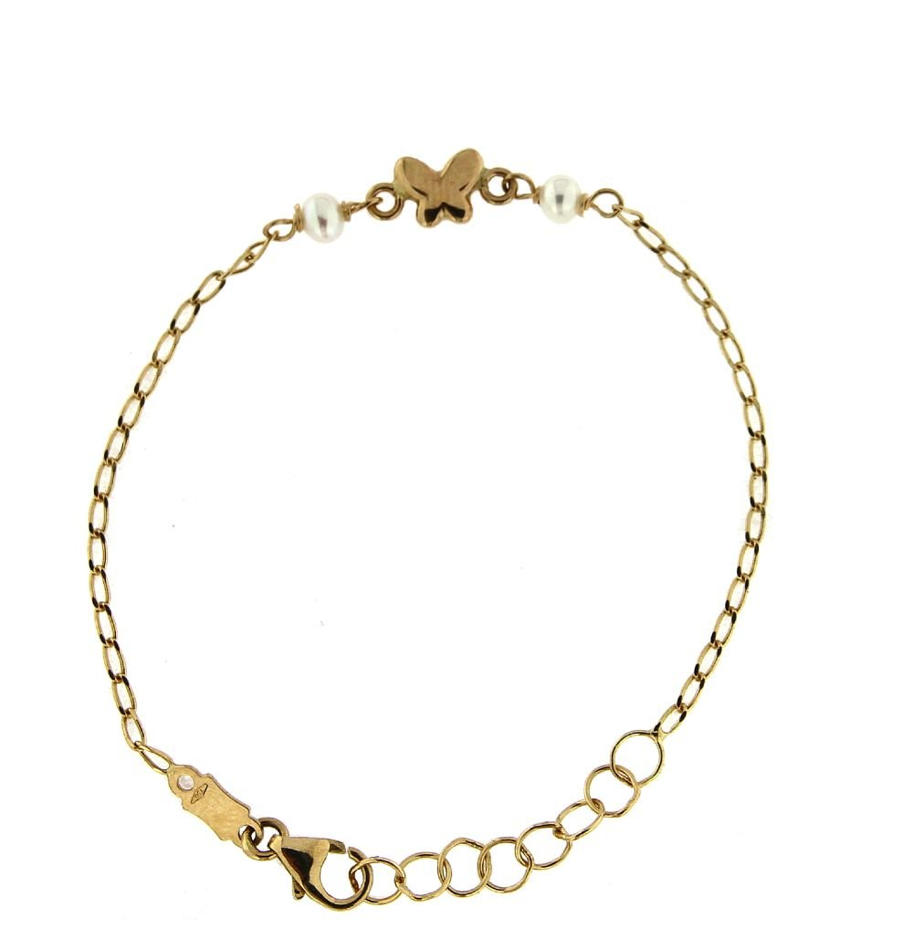 18K Yellow Gold center butterfly and two Cultivated Pearls baby bracelet 5.50 inches with extra rings starting at 4.75 inches