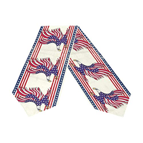 - Wamika Patriotic Eagle Table Runner 13x70 Inches Double Sided, Star and Striped American Flag Table Runners Cloth Placemats for Kitchen Dining Home Decor, 4th of July Memorial Day Party Supplies