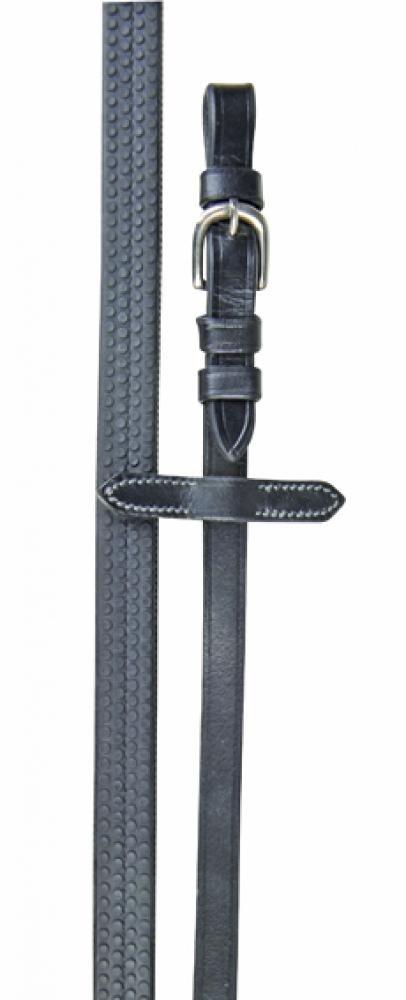 HKM 56449100Rênes en caoutchouc avec housse, L, Noir