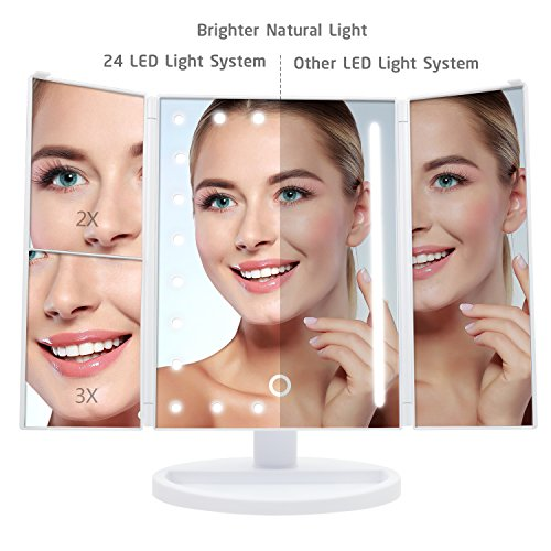 [2018 Upgraded Version] Lighted Makeup Mirror, Wondruz 24 Led Lights Vanity Mirror with Lights and Magnification (2x/3x), Touch Screen, 180° Rotation,Dual Power Supply, Trifold Mirror (White) by Wondruz (Image #2)