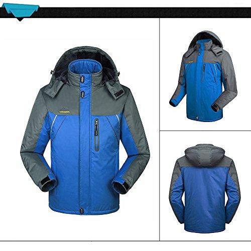 Lixada Herren Winddichte Fleecejacke Winter Outdoor Sport Wasserdichte Skijacke Mantel Camping Wandern Skifahren Laufen Klettern. Blau-4XL