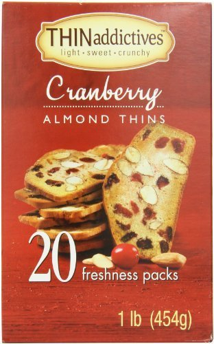Thin Addictives Almond Thins Cookies, Cranberry, 16 Ounce by Thin Addictives [Foods]