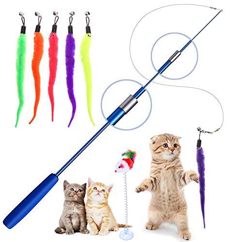 Interaktives Katzenspielzeug, Einziehbare Katze Teaser Zauberstab Spielzeug Set Mit 5 Katzenangel Ersatzfedern mit…