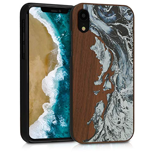 - kwmobile Apple iPhone XR Wood Case - Non-Slip Natural Solid Hard Wooden Protective Cover for Apple iPhone XR