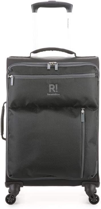 Colour:Black, Size:Cabin Suitcase Revelation Soft Shell Suitcase Weightless B2A Black with Grey Durable and Lightweight