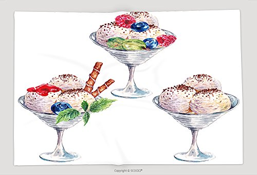 Supersoft Fleece Throw Blanket Collection Of Watercolor Balls Of Ice Cream Sundae With Berries Jam And Chocolate Summer Food 404252635