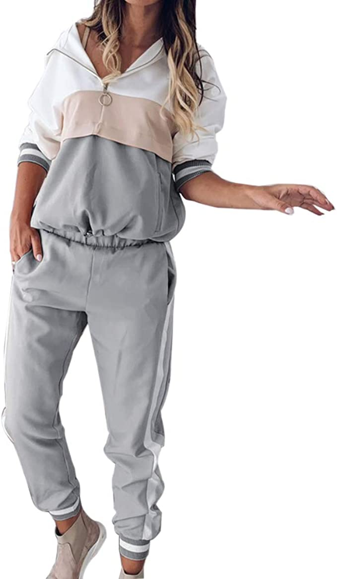 Vertvie Damen Sportanzug Trainingsanzug Sport Set Langarm Pullover Lange Sporthose Loose Fit Sport Yoga Jogginganzug