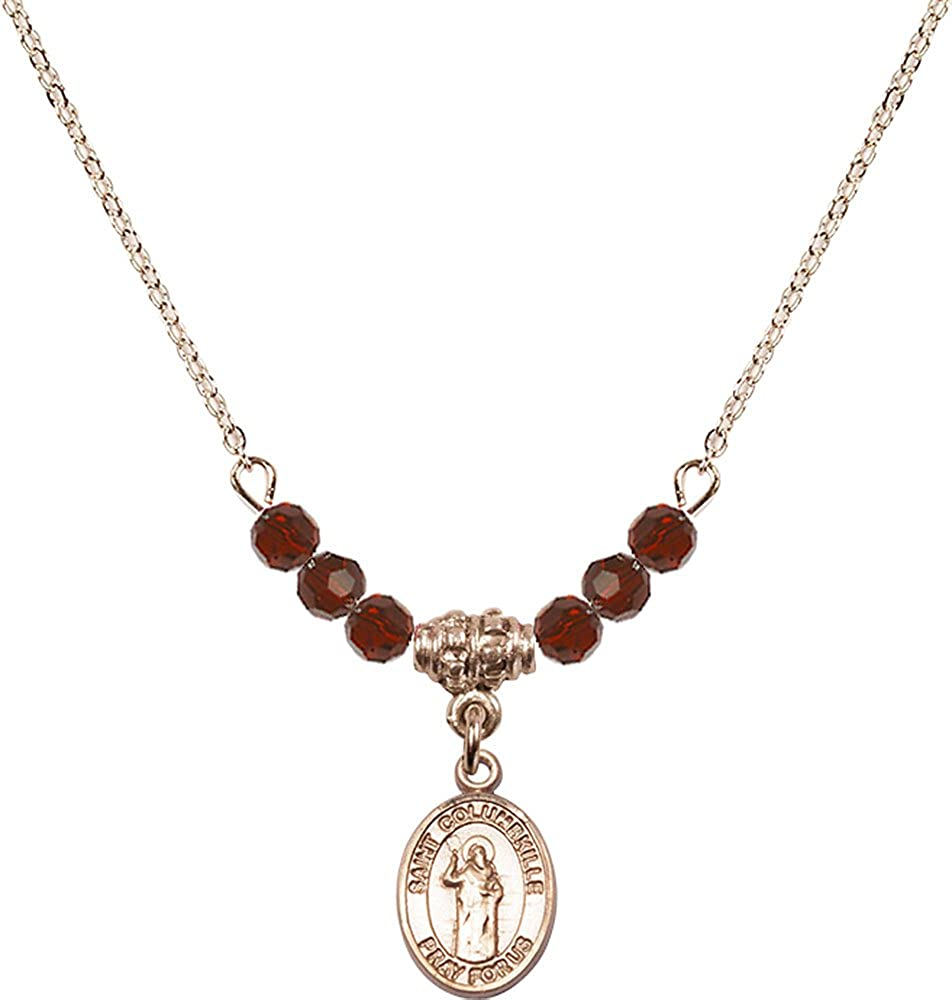 18-Inch Hamilton Gold Plated Necklace with 4mm Garnet Birthstone Beads and Gold Filled Saint Columbkille Charm.