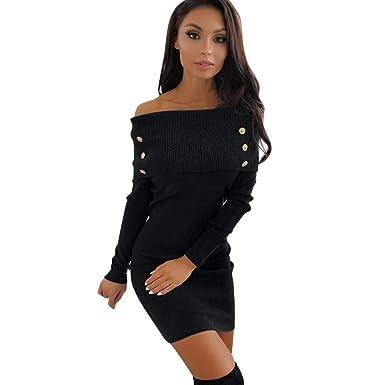 d7d48548c Vestido Corto Mini Sexy Ajustado para Mujer Otoño Invierno