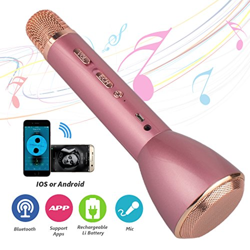 Wireless Karaoke Microphones, Magift Portable 3-in-1 Bluetooth speaker for KTV Singing Handheld Microphone Karaoke Machine for iPhone / iPad, Samsung, LG, HTC, Nokia Android and Tablet - Pink - Wireless Karaoke Microphones