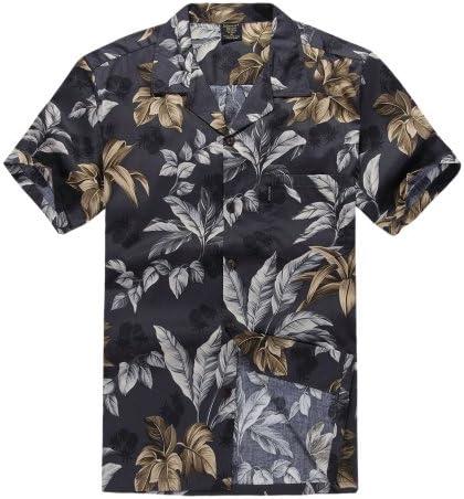 Men's Hawaiian Shirt Aloha Shirt M Black and Gold Leaf