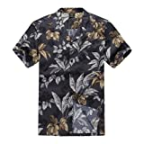 Palm Wave Men's Hawaiian Shirt Aloha Shirt XL Black and Gold Leaf