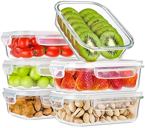 Bayco Glass Meal Prep Containers, [6 Pack, 22oz | 2.7cups] Glass Food Storage Containers with Lids, Airtight Glass Bento Boxes, BPA Free & FDA Approved & Leak Proof (6 lids & 6 Containers) (12 Cup Glass Container)