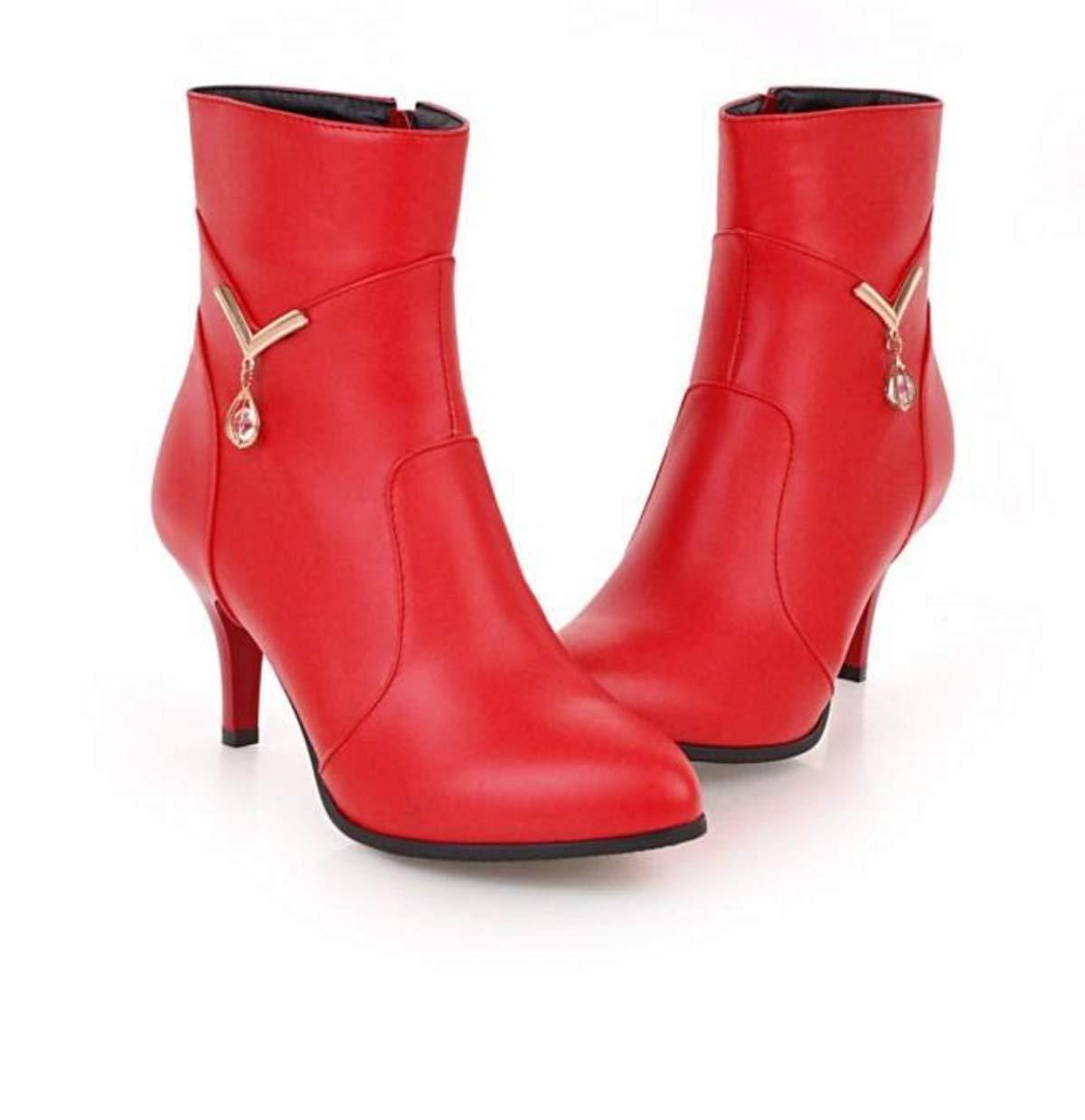 HBDLH Damenschuhe Im Herbst und Winter 7Cm High Heels Kurze Stiefel Sexy Mode Gut Bei Fuß Wasserdichte Tabelle Stiefel Martin Stiefel.